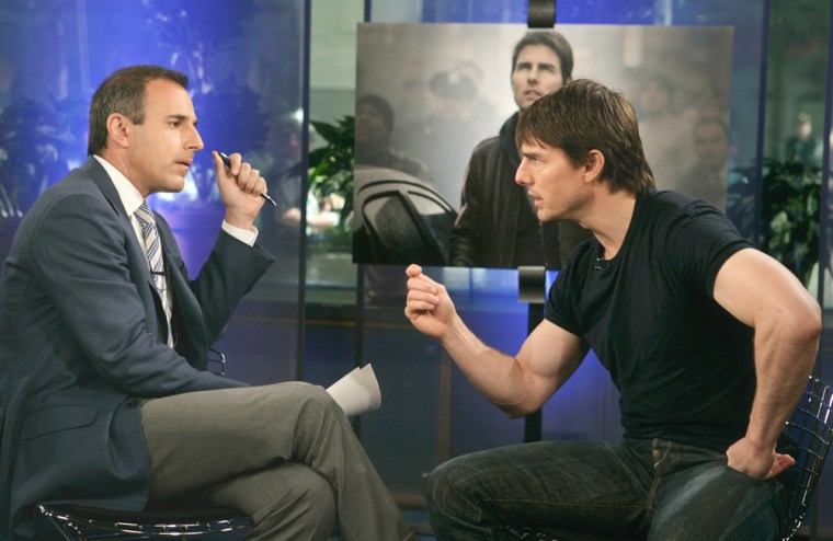 ** FILE ** In this photo released by NBC, feature film star Tom Cruise, right, gestures toward talk show co-host Matt Lauer during the telecast of NBCs Today Show, June 24, 2005. The interview became more heated when Lauer began discussing anti-depressants and Scientology. Cruise, among Scientology's most fervent messengers, nurtured a passion for the controversial religion while studying at a secretive desert compound in Southern California that's become one of the church's primary base of operations, the Los Angeles Times reports.(AP Photo/NBC, Virginia Sherwood/FILE)