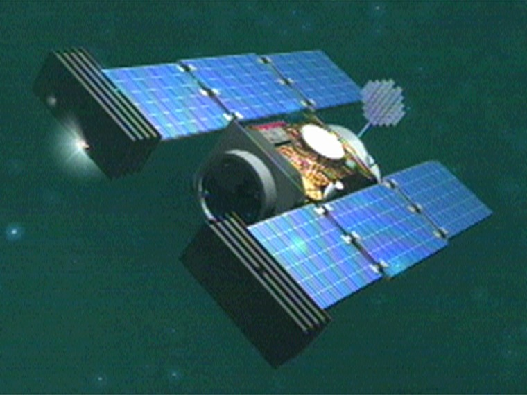 The Stardust spacecraft, shown in this artist's conception, is on its way back toward Earth to drop off a capsule containing samples from a comet as well as interstellar dust.