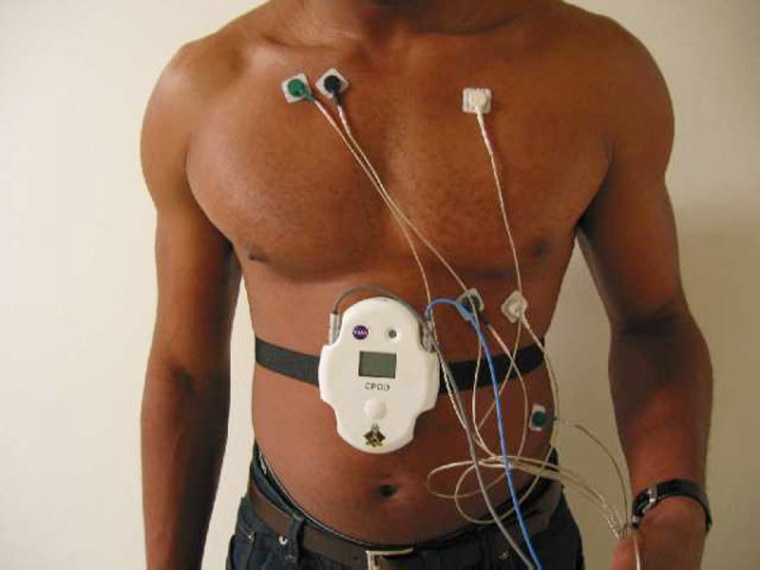 The heart of the LifeGuard physiological monitoring system is the Crew Physiological Observation Device, or CPOD, a device that is strapped around the waist and collects data to store or transmit to a base station nearby.