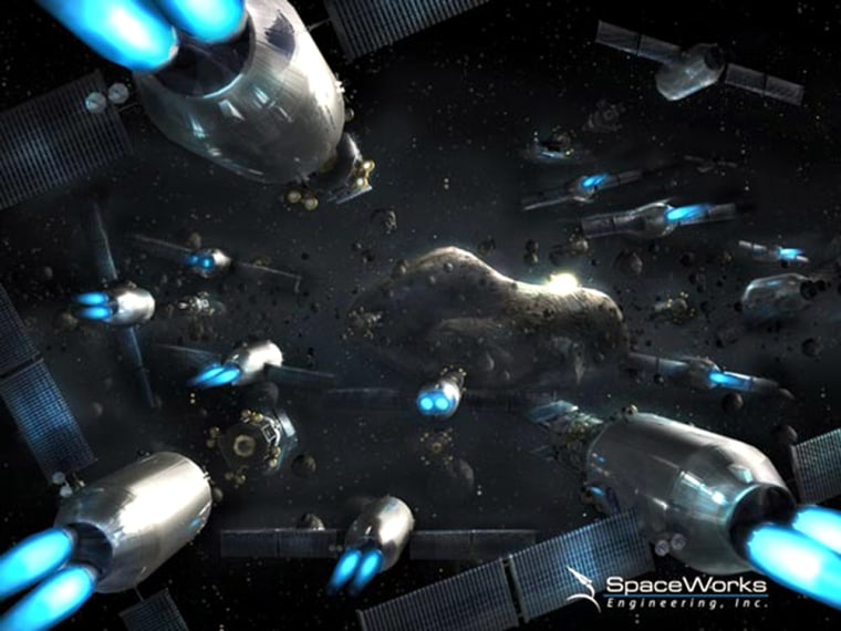 In this artist's conception, MADMEN robots converge on an Earth-threatening asteroid. It may sound like science fiction, but the concept emerged from a NASA-funded study.