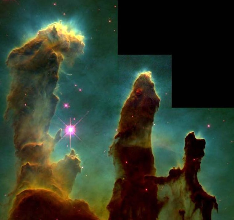 "One of the Hubble Space Telescope's most famous images is this view of the Eagle Nebula, known as the ""Pillars of Creation."" Stars and most likely planetary systems are taking shape within evaporating gaseous globules, or EGGs, sculpted by intense ultraviolet radiation. Astronomers contend that our solar system may have been formed in a similar process."