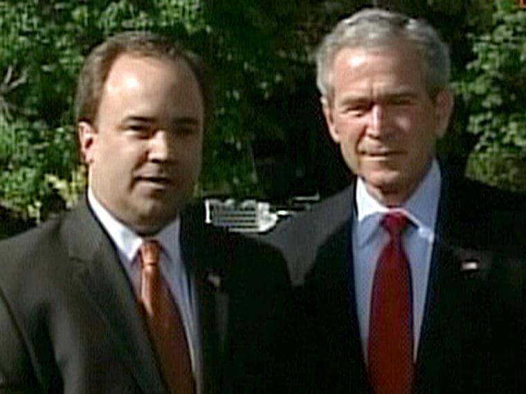 President Bush stood by his former press secretary, Scott McClellan, as they announced the spokesman's resignation last April.