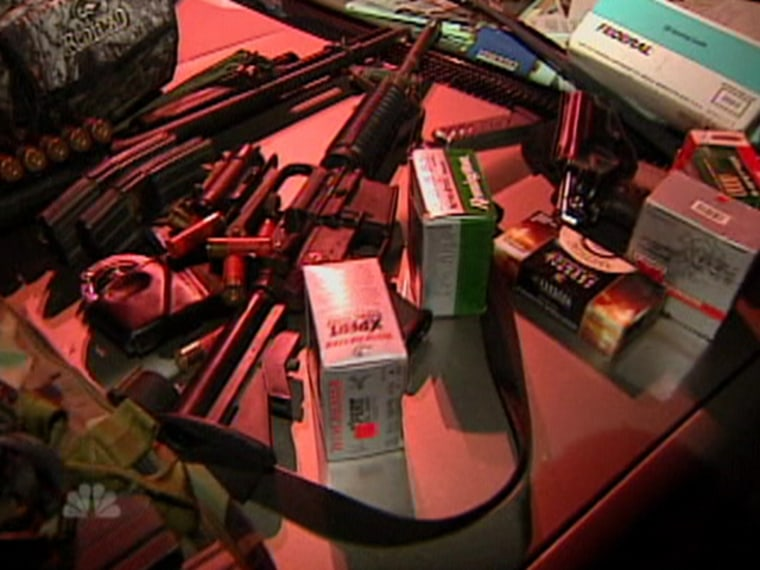 The officers searching Todd Spikes' SUV discovered an arsenal of weapons, including a military assault rifle that was leaning on the passenger seat. Spikes was making his way to the undercover 'To Catch a Predator' house.