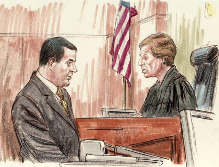 Neil Volz, the former chief of staff to ex-Ohio Congressman Bob Ney,addresses Judge Ellen S. Huvelle before being sentenced.