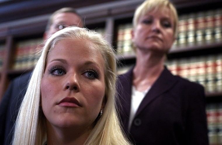 Debra LaFave and her mother, Joyce Beasley (right), at a March press conference