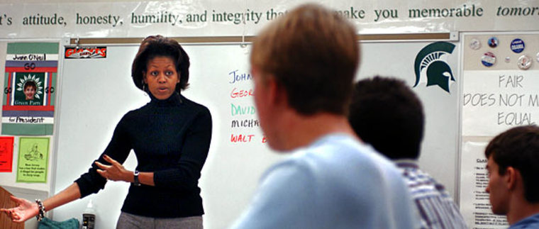 Michelle Obama speaks to an economics class in October 2004