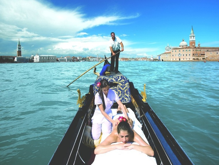 At Casanova Spa at Hotel Cipriani in Venice, Italy, relaxation-seekers who can't get enough of the city's sights can set sail with a Gondola Massage, performed in a private nook in one of Venice's alluring lagoons.