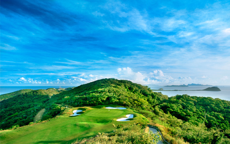 Mom will enjoy the view from the 13th hole on the Trump International Golf Course at Raffles Godahl at Canouan Island. She'll also enjoy a spectacular view of the Grenadines while getting a massage.