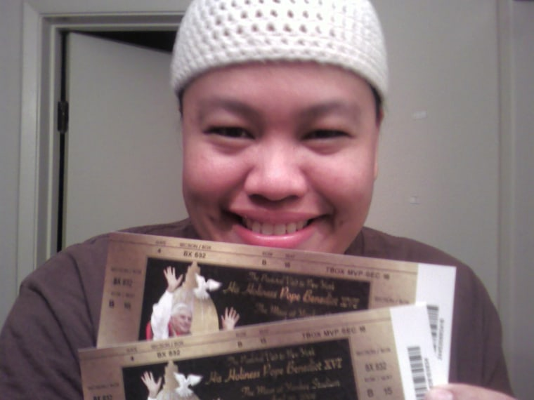 """From user April-Liesel Binapri: """"This is a photograph of me, April-Liesel, and my tickets to Pope Benedict XVI's Mass to be held at Yankee Stadium on April 20, 2008. I take with me the prayer requests from all those in my Archdiocese of Los Angeles... as well as my friends and family!"""""""