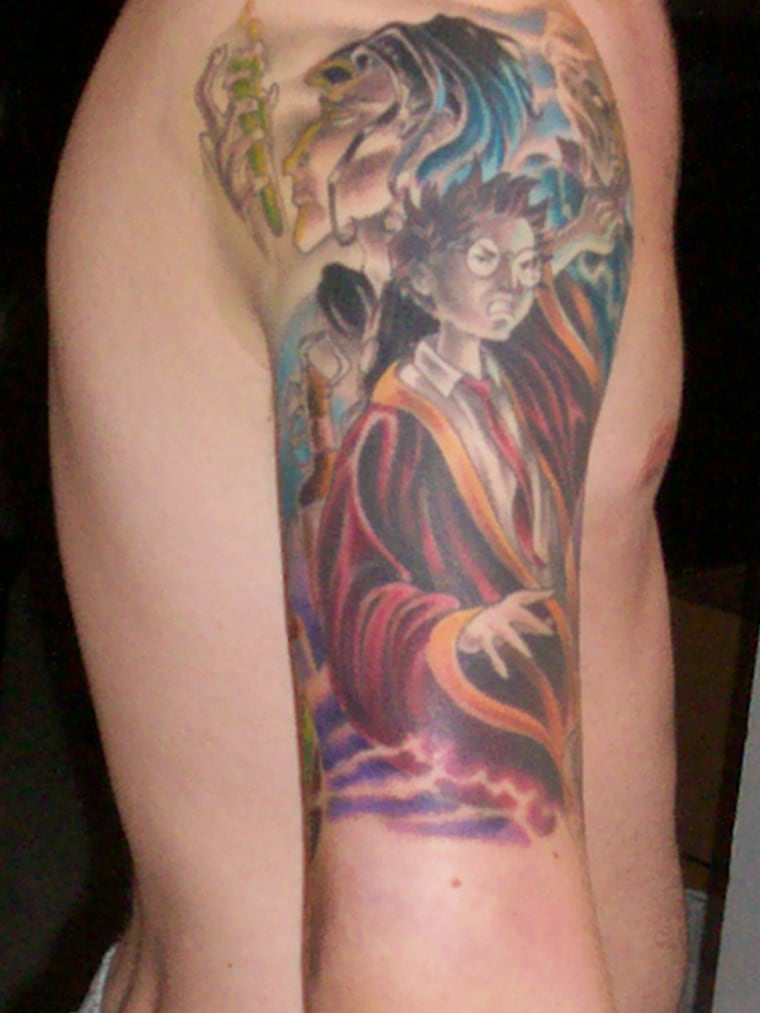 Picture of the best Harry Potter tattoo that will ever exist.