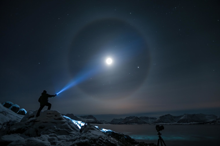 Image: A halo appears around the moon in Kvæfjord, Troms, North Norway.