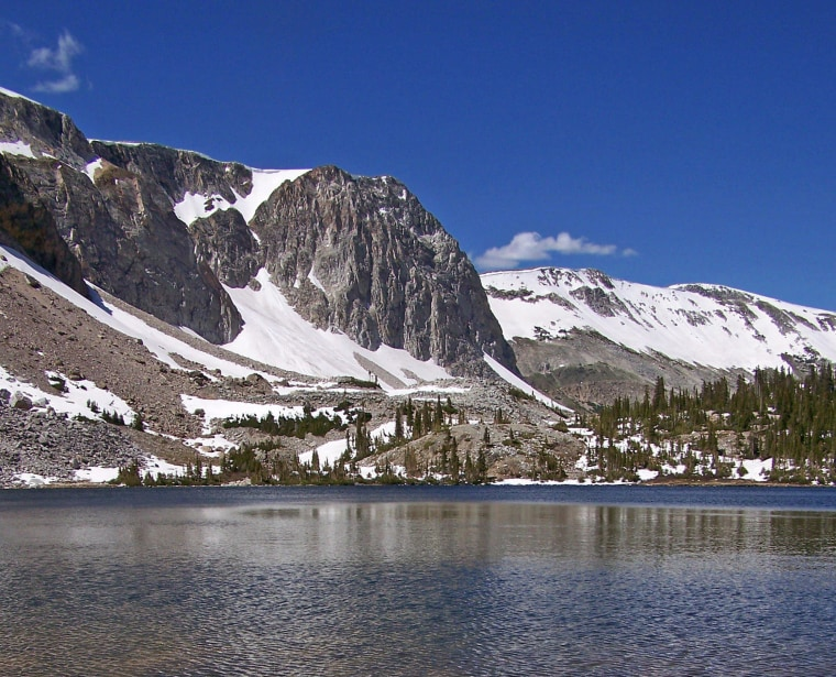 Lake Marie sits below the towering peaks of the Snowy Range in the Medicine Bow National Forest in Wyoming.