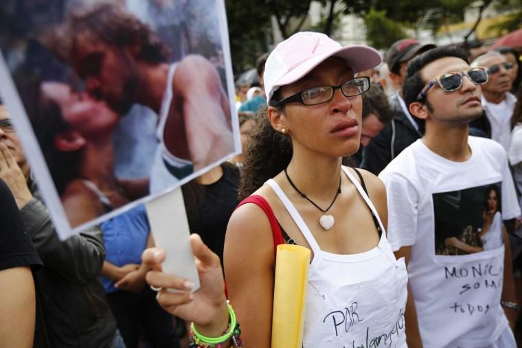 Image: A fan of former Miss Venezuela Monica Spear in Caracas.