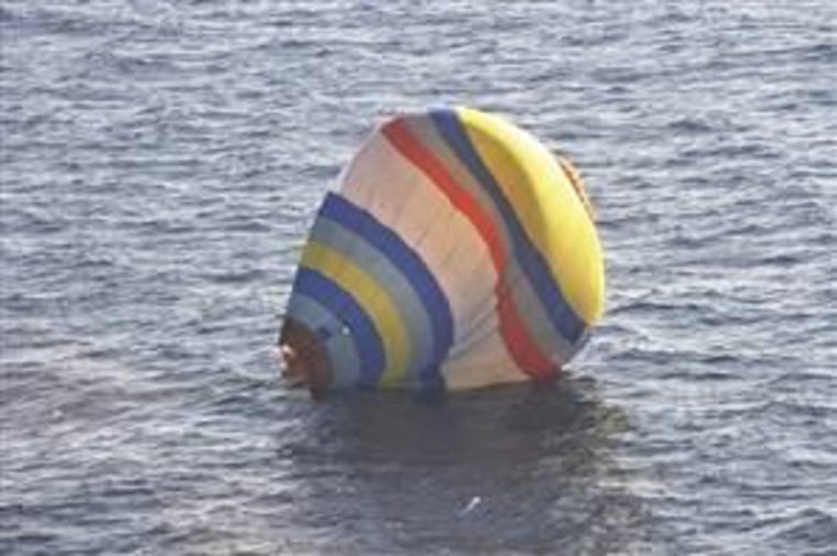 A hot-air balloon drifts on the East China Sea near the disputed isles known as Senkaku in Japan and Diaoyu in China