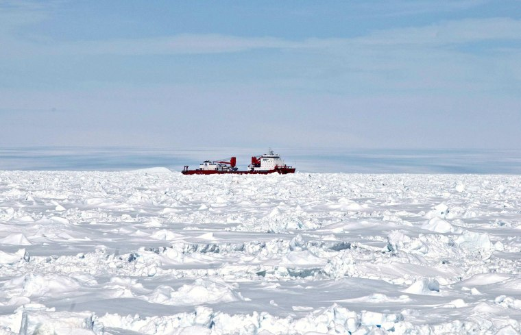 Image: The Xue Long (Snow Dragon) Chinese icebreaker sits in an ice pack
