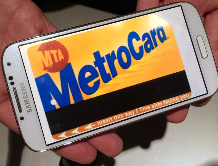 Image: A MetroCard is displayed on a smartphone.