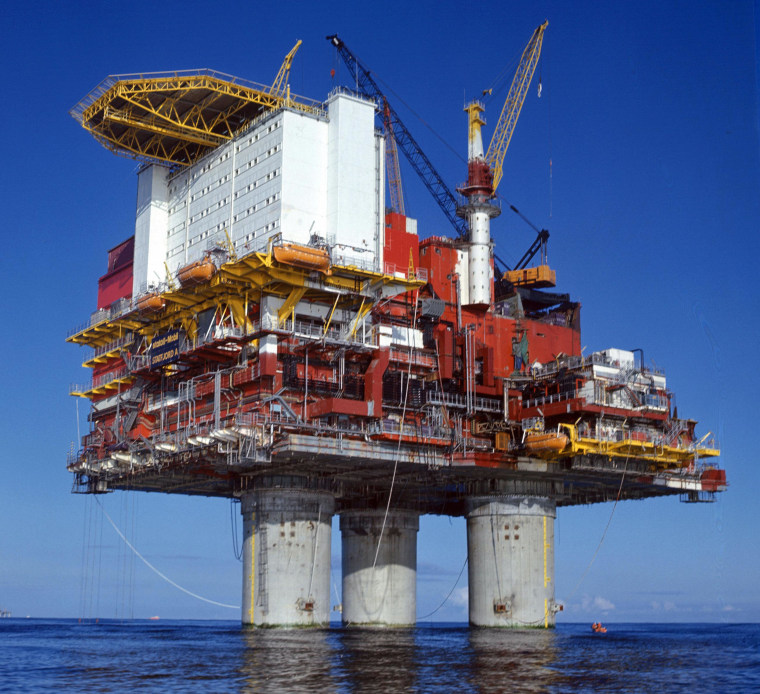 Image: The Statfjord A-platform in the North Sea in Oct. 1977