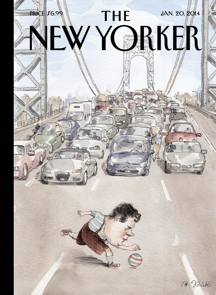 "The New Yorker's cover for Jan. 20, 2014, takes on New Jersey Gov. Chris Christie over the George Washington Bridge Scandal. The image is ""Playing in Traffic,"" by Barry Blitt."