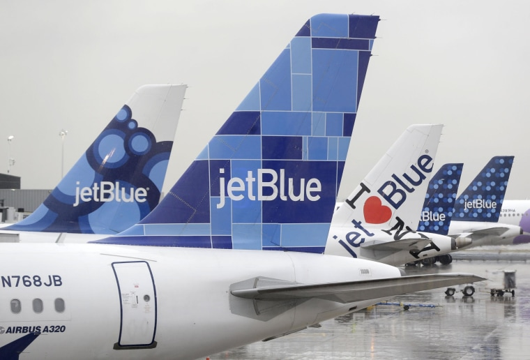 Image: JetBlue airplanes at their gates at John F. Kennedy Airport in New York on Nov. 27, 2013.