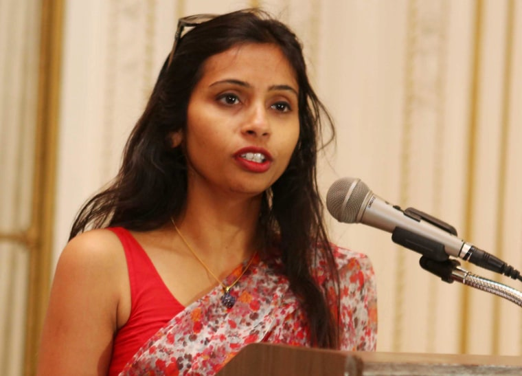 Image: India's Deputy Consul General in New York, Devyani Khobragade, attends a Rutgers University event at India's Consulate General in New York