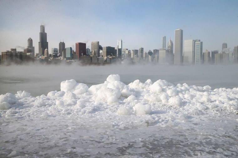 Ice builds up along Lake Michigan