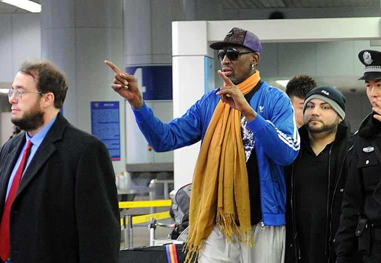 Image: Dennis Rodman arrives in Beijing from North Korea