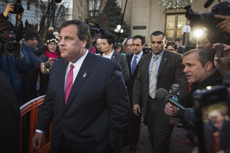 New Jersey Governor Chris Christie departs City Hall in Fort Lee, New Jersey, on Thursday.