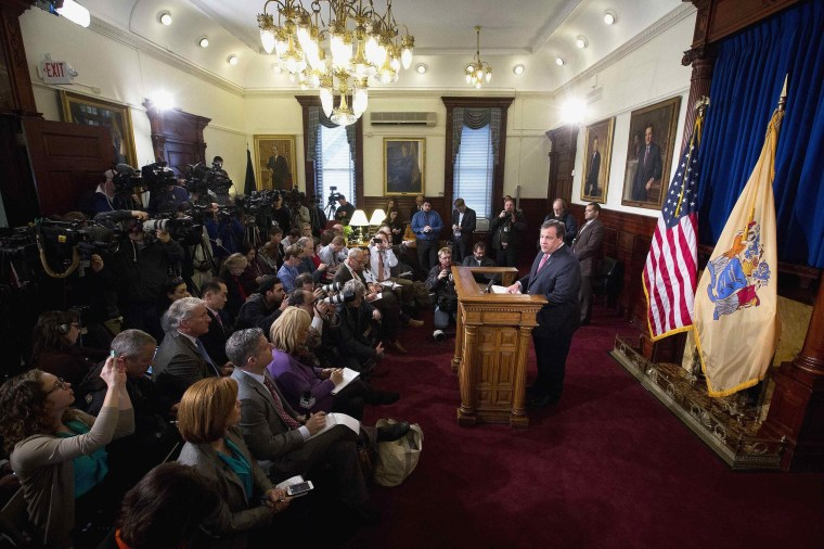 Image: New Jersey Governor Christie gives a news conference in Trenton