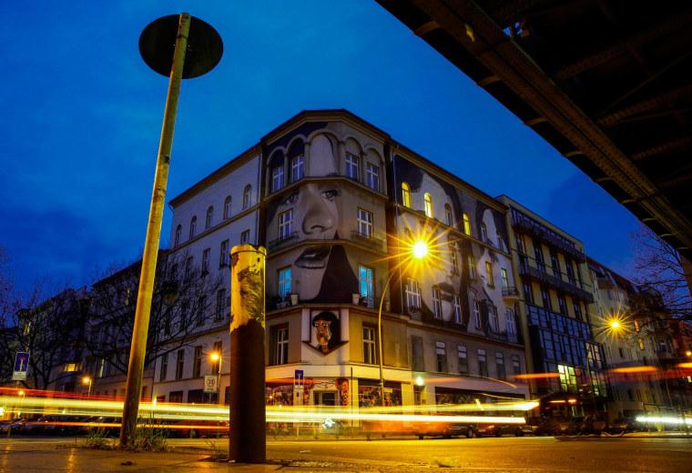 Image: Murals of fashion model Teresa Oman by Melbourne-based street artist Rone in Berlin