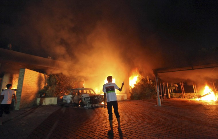 Flames consume the U.S. Consulate in Benghazi on Sept. 11, 2012.