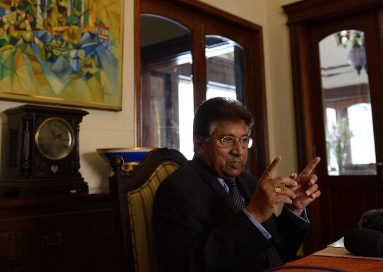 "Pakistan's former military ruler Pervez Musharraf answers a question from foreign media representatives at his farmhouse in Islamabad on December 29, 2013. Musharraf denounced treason charges against him as a ""vendetta"" and said he had the backing of the country's powerful army."