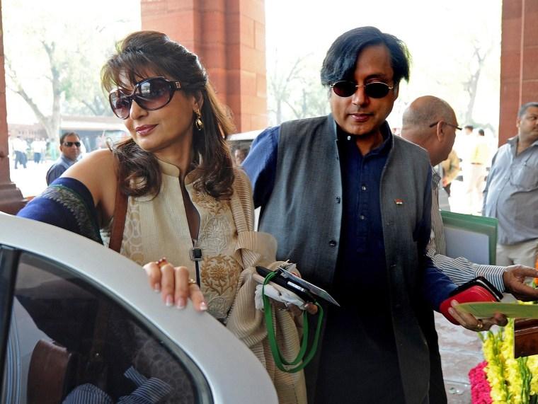 Image: Shashi Tharoor and his wife Sunanda Pushkar arrive at parliament in New Delhi in 2012.