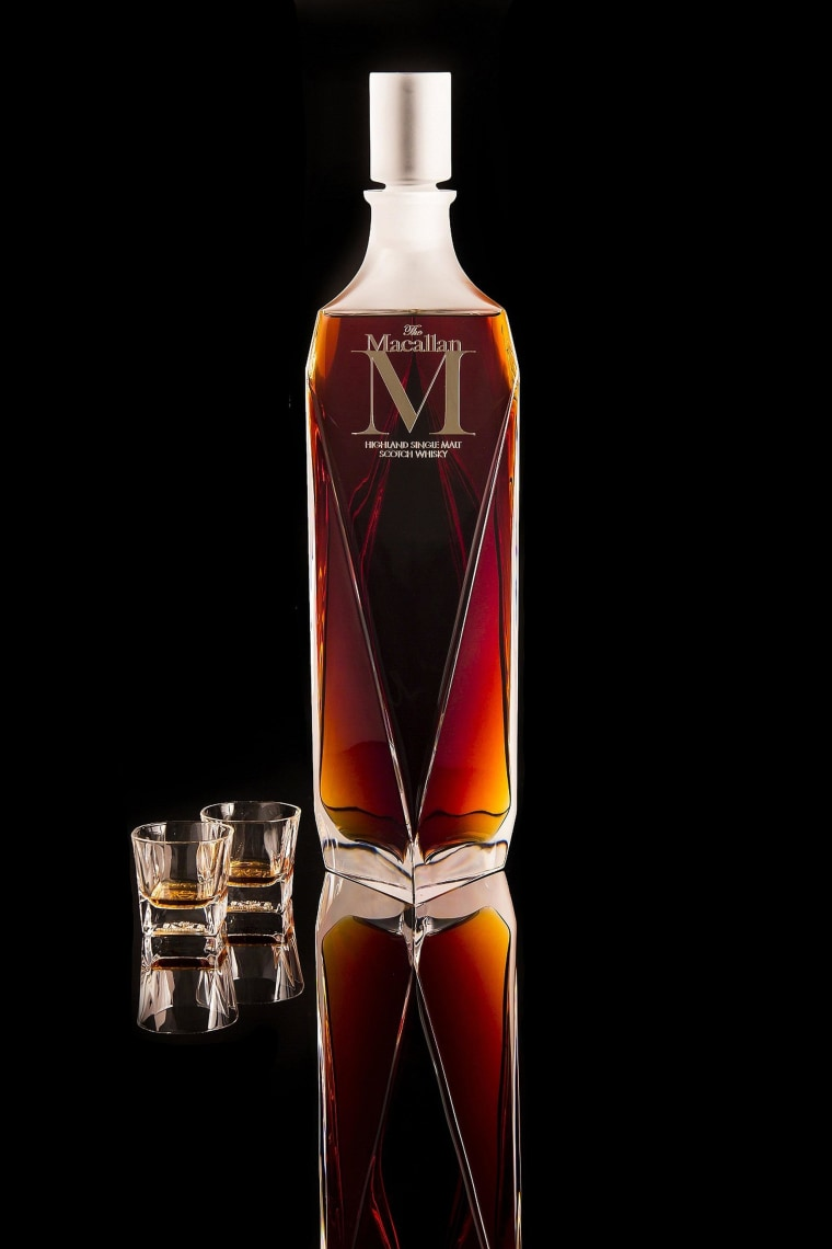A Macallan 'M' Decanter 6-litre Imperiale single malt whisky sold at auction for a world record $628,205 at Sotheby's in Hong Kong at the weekend.