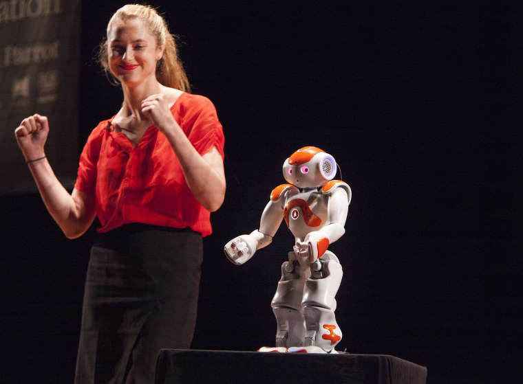 Image: Heather Knight with Data, the world's first robot comedian