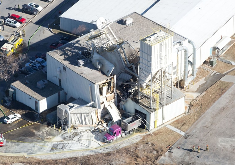 International Nutrition, Inc., a farm animal supplement operation in Omaha, Neb., near South 76th and F Streets, where an explosion occurred and the roof has caved in on Monday, Jan. 20, 2014.