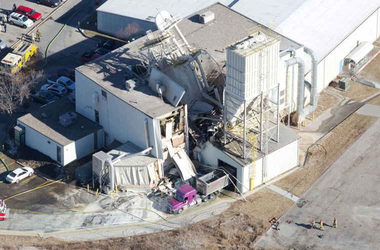 Image: Image:  International Nutrition, Inc., a farm animal supplement operation, near South 76th and F Streets where an explosion occurred and the roof has caved in on Monday, Jan. 20, 2014.