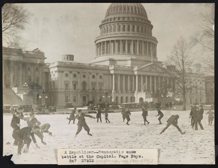 Image: DC Pages throw snowballs in 1923