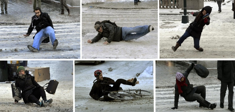 Image: People fall on ice and snow