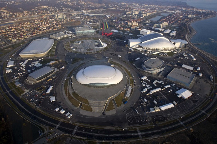 An aerial view from a helicopter shows the Olympic Park under construction in the Adler district of the Black Sea resort city of Sochi in December.