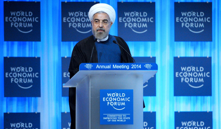 Image: Iranian President Hassan Rouhani addresses the World Economic Forum in Davos