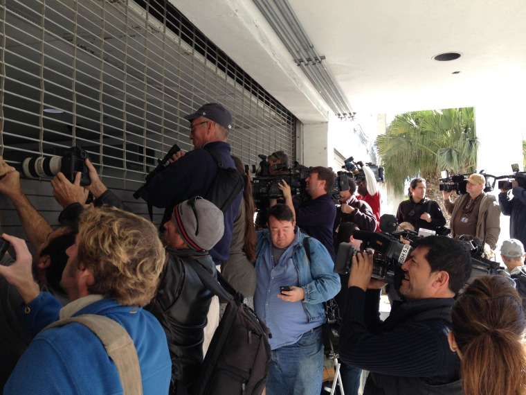 Media awaiting the transfer of singer Justin Bieber outside the Miami Beach Police Department