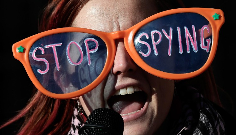 Image: *** BESTPIX *** Activists Protest Outside Justice Dep't During Obama Speech On NSA Reforms