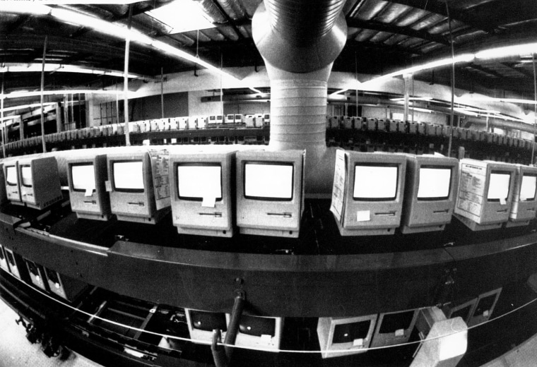 Image: Thousands of Apple Macintosh computers sit on double decked manufacturing lines on March 28, 1984.