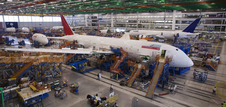 Image: File photo of a 787 Dreamliner being built for India Air at South Carolina Boeing final assembly building in North Charleston