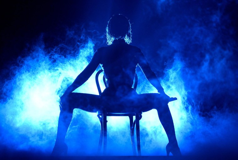 Beyonce performs onstage during the 56th Grammy Awards at Staples Center in Los Angeles on Sunday night.