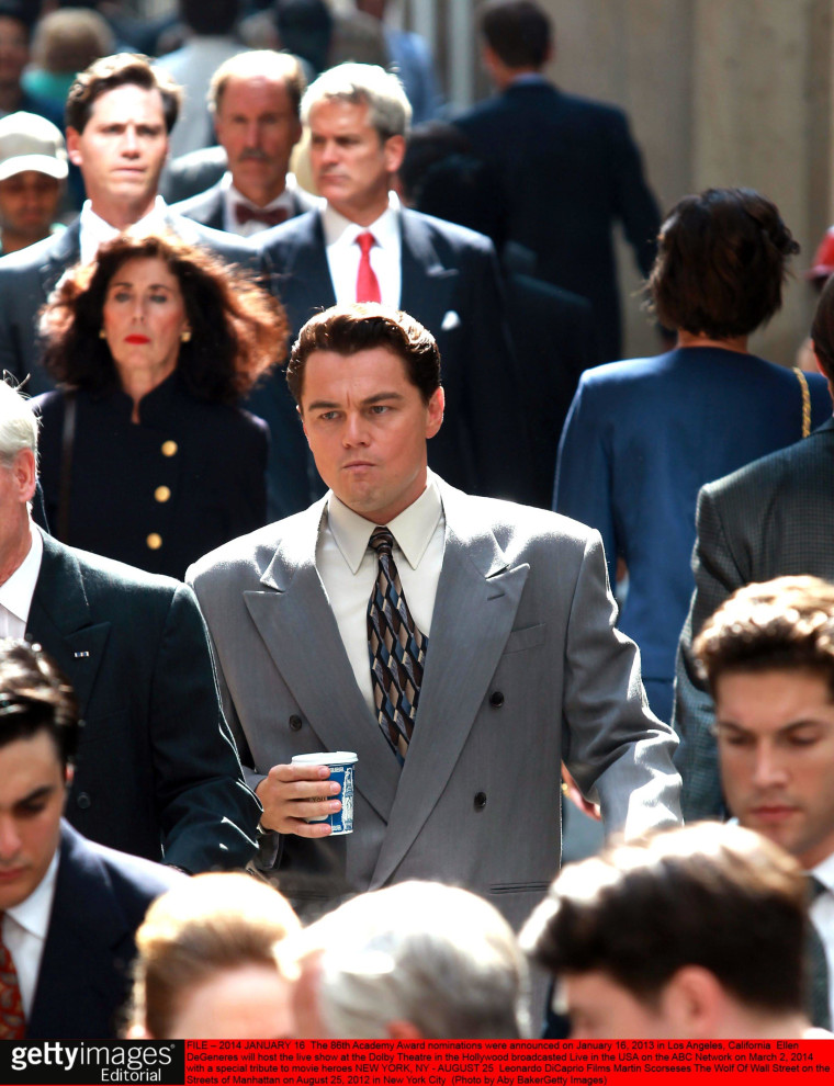 """Leonardo DiCaprio curses a lot in """"The Wold of Wall Street."""" Experts say vulgar language is not unexpected in high-pressure offices."""