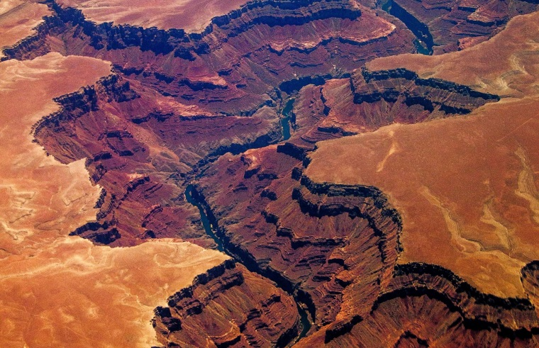 Image: An aerial picture of the Grand Canyon in Arizona taken from around 30,000 feet