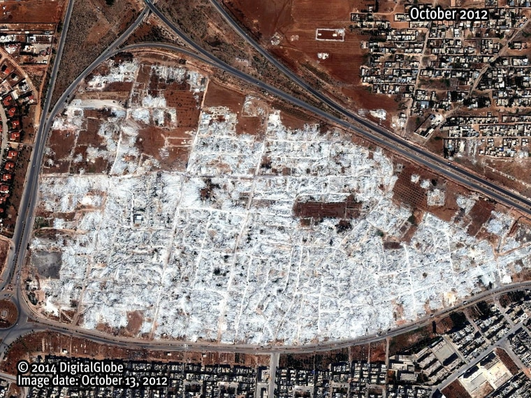 A satellite image dated October 2012 shows what Human Rights Watch says is the complete demolition of the Masha' al-Arb'een neighborhood in Hama, Syria.
