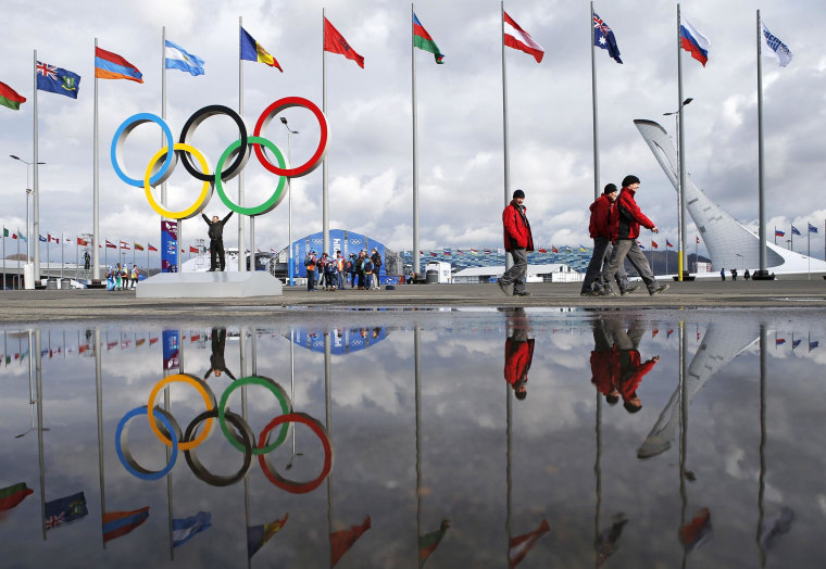 Image: People walk past the Olympic rings and the cauldron for the Olympic flame as preparations continue for the Sochi 2014 Winter Olympics.