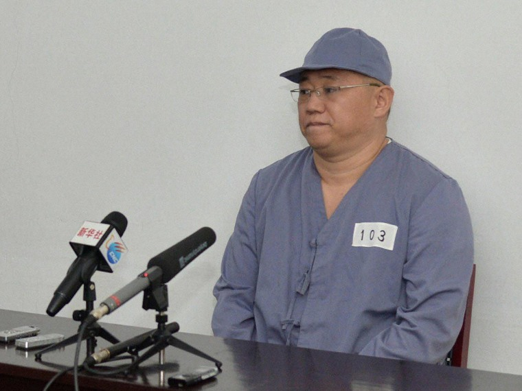 Image: Kenneth Bae, a Korean-American Christian missionary who has been detained in North Korea for more than a year, meets a limited number of media outlets in Pyongyang